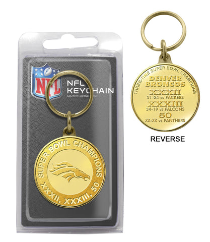Denver Broncos 3-Time Super Bowl Champions Bronze Coin Keychain