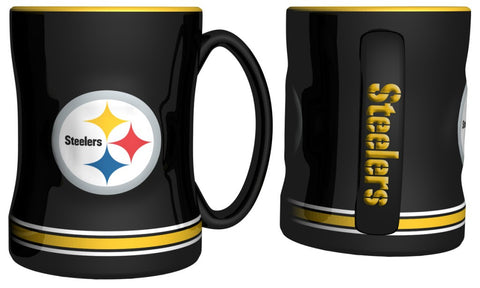 Pittsburgh Steelers 14oz Black Sculpted Relief Coffee Mug