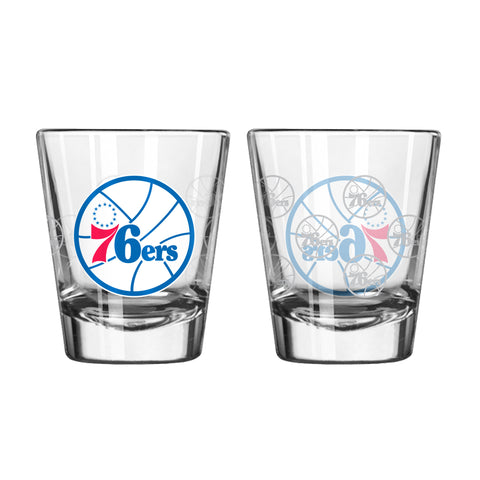 Philadelphia 76ers Shot Glass - 2 Pack Satin Etch
