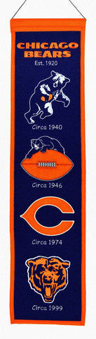 Chicago Bears Wool Heritage Banner 8x32""