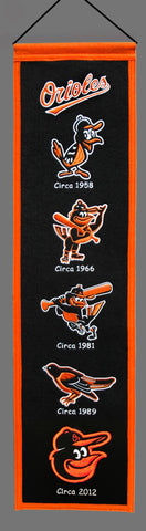 Baltimore Orioles Wool Heritage Banner 8x32""