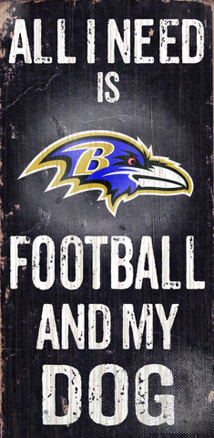 "Baltimore Ravens 6x12"" Football and Dog Wood Sign"