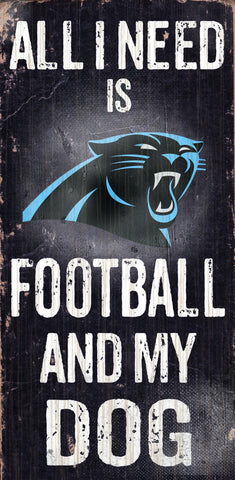 "Carolina Panthers 6x12"" Football and Dog Wood Sign"