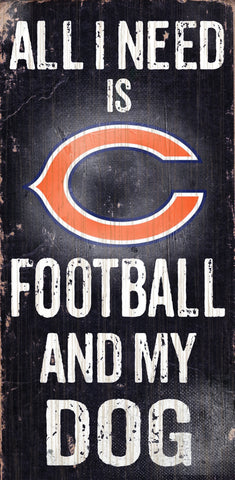 "Chicago Bears 6x12"" Football and Dog Wood Sign"