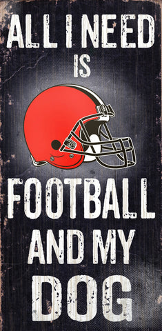"Cleveland Browns 6x12"" Football and Dog Wood Sign"