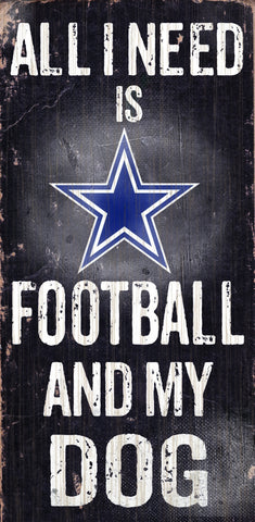 "Dallas Cowboys 6x12"" Football and Dog Wood Sign"