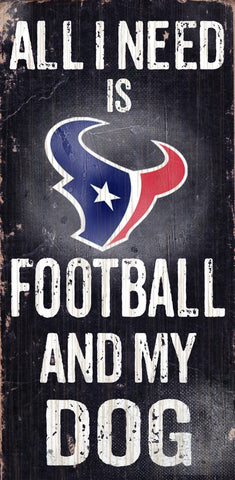 "Houston Texans 6x12"" Football and Dog Wood Sign"