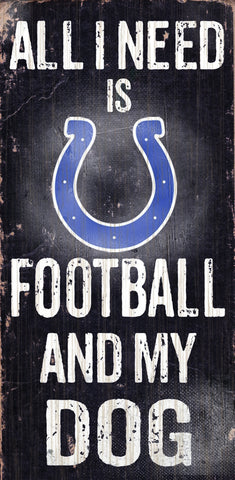 "Indianapolis Colts 6x12"" Football and Dog Wood Sign"
