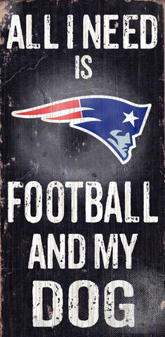 "New England Patriots 6x12"" Football and Dog Wood Sign"