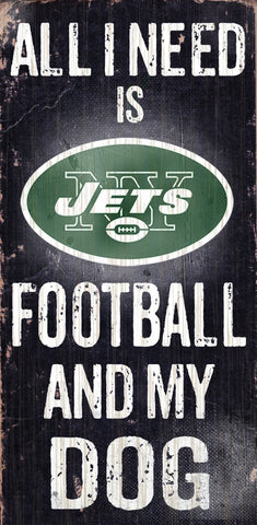 "New York Jets 6x12"" Football and Dog Wood Sign"