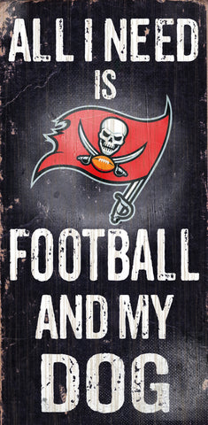 "Tampa Bay Buccaneers 6x12"" Football and Dog Wood Sign"