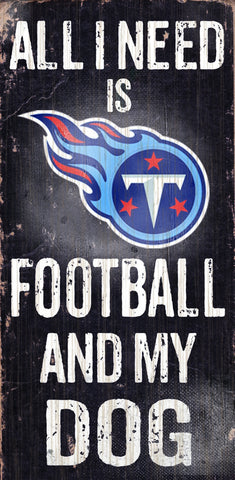 "Tennessee Titans 6x12"" Football and Dog Wood Sign"