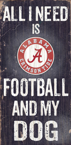 "Alabama Crimson Tide 6x12"" Football and Dog Wood Sign"