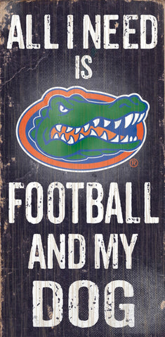 "Florida Gators 6x12"" Football and Dog Wood Sign"