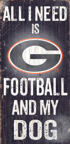 "Georgia Bulldogs 6x12"" Football and Dog Wood Sign"