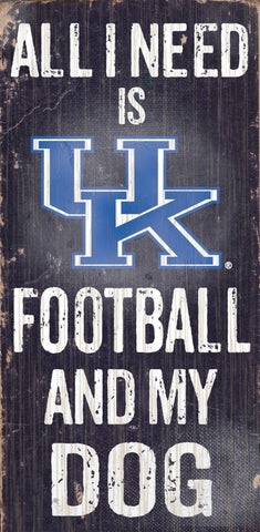 "Kentucky Wildcats 6x12"" Football and Dog Wood Sign"