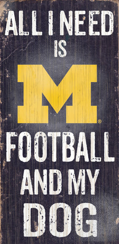 "Michigan Wolverines 6x12"" Football and Dog Wood Sign"