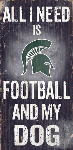 "Michigan State Spartans 6x12"" Football and Dog Wood Sign"