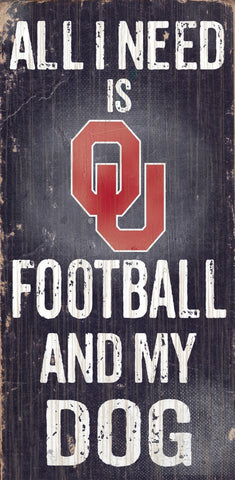 "Oklahoma Sooners 6x12"" Football and Dog Wood Sign"