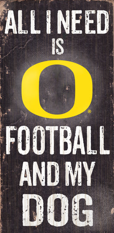 "Oregon Ducks 6x12"" Football and Dog Wood Sign"