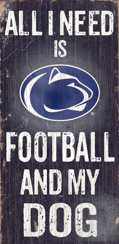 "Penn State Nittany Lions 6x12"" Football and Dog Wood Sign"