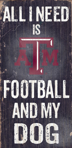 "Texas A&M Aggies 6x12"" Football and Dog Wood Sign"