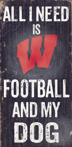 "Wisconsin Badgers 6x12"" Football and Dog Wood Sign"