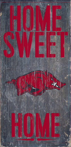 "Arkansas Razorbacks Wood Sign - Home Sweet Home 6""x12"""