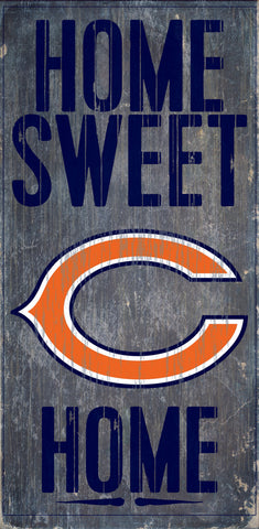 "Chicago Bears Wood Sign - Home Sweet Home 6""x12"""