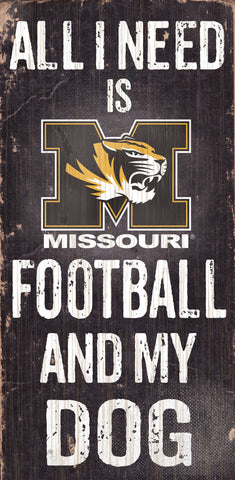 "Missouri Tigers 6x12"" Football and Dog Wood Sign"