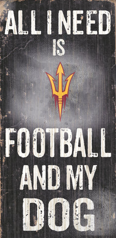 "Arizona State Sun Devils 6x12"" Football and Dog Wood Sign"