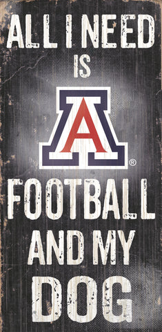 "Arizona Wildcats 6x12"" Football and Dog Wood Sign"