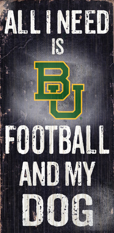 "Baylor Bears 6x12"" Football and Dog Wood Sign"