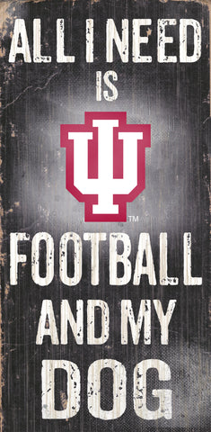 "Indiana Hoosiers 6x12"" Football and Dog Wood Sign"