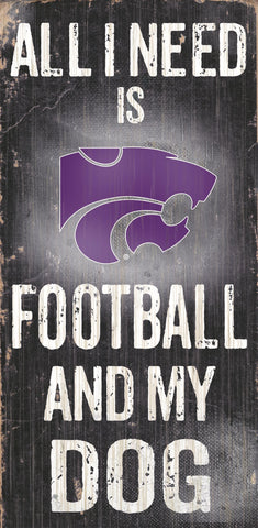 "Kansas State Wildcats 6x12"" Football and Dog Wood Sign"