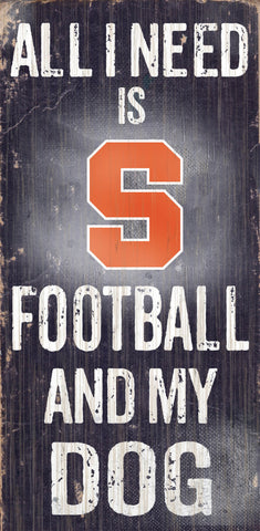 "Syracuse Orange 6x12"" Football and Dog Wood Sign"