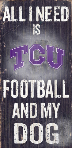 "TCU Horned Frogs 6x12"" Football and Dog Wood Sign"