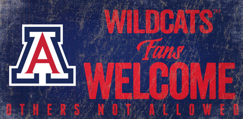 Arizona Wildcats Wood Sign Fans Welcome 12x6