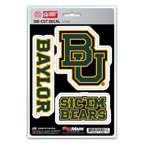 Baylor Bears Die Cut Team Decals 3pk