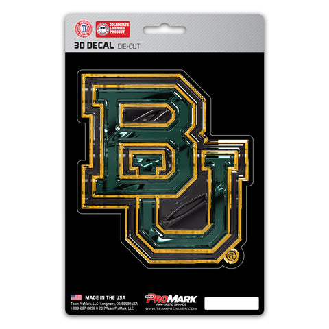 Baylor Bears Die Cut 3D Logo Design Decal 5x8""