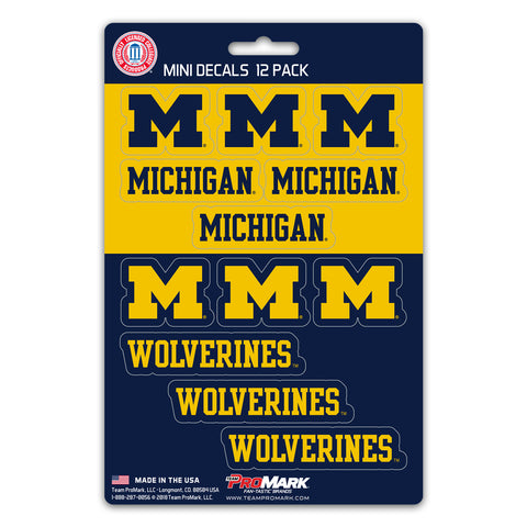 Michigan Wolverines 12 Pack Decal Set