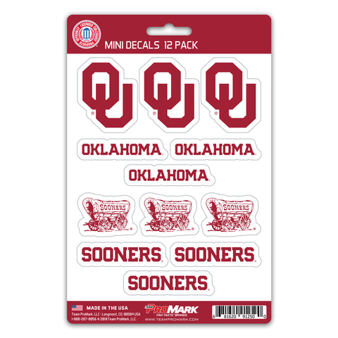 Oklahoma Sooners 12 Pack Decal Set
