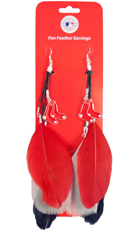 Boston Red Sox Team Color Feather Earrings