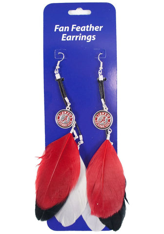 Alabama Crimson Tide Team Color Feather Earrings