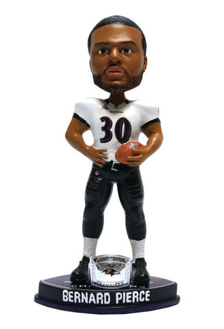 Baltimore Ravens Bernard Pierce Forever Collectibles Super Bowl 47 Champ Ring Bobblehead