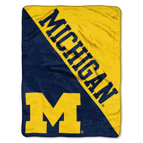 Michigan Wolverines Blanket 46x60 Raschel Halftone Design Rolled