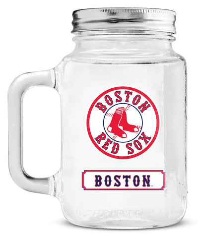 Boston Red Sox Mason Glass Jar with Lid