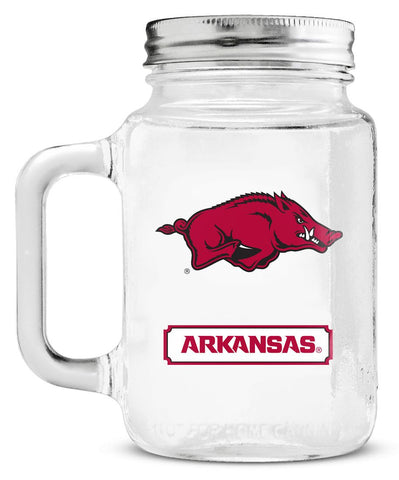 Arkansas Razorbacks Mason Glass Jar with Lid