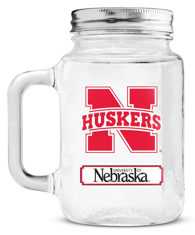 Nebraska Cornhuskers  Mason Glass Jar with Lid