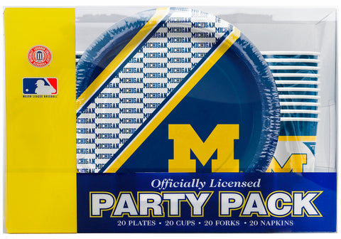 Michigan Wolverines 80 Piece Premium Party Pack